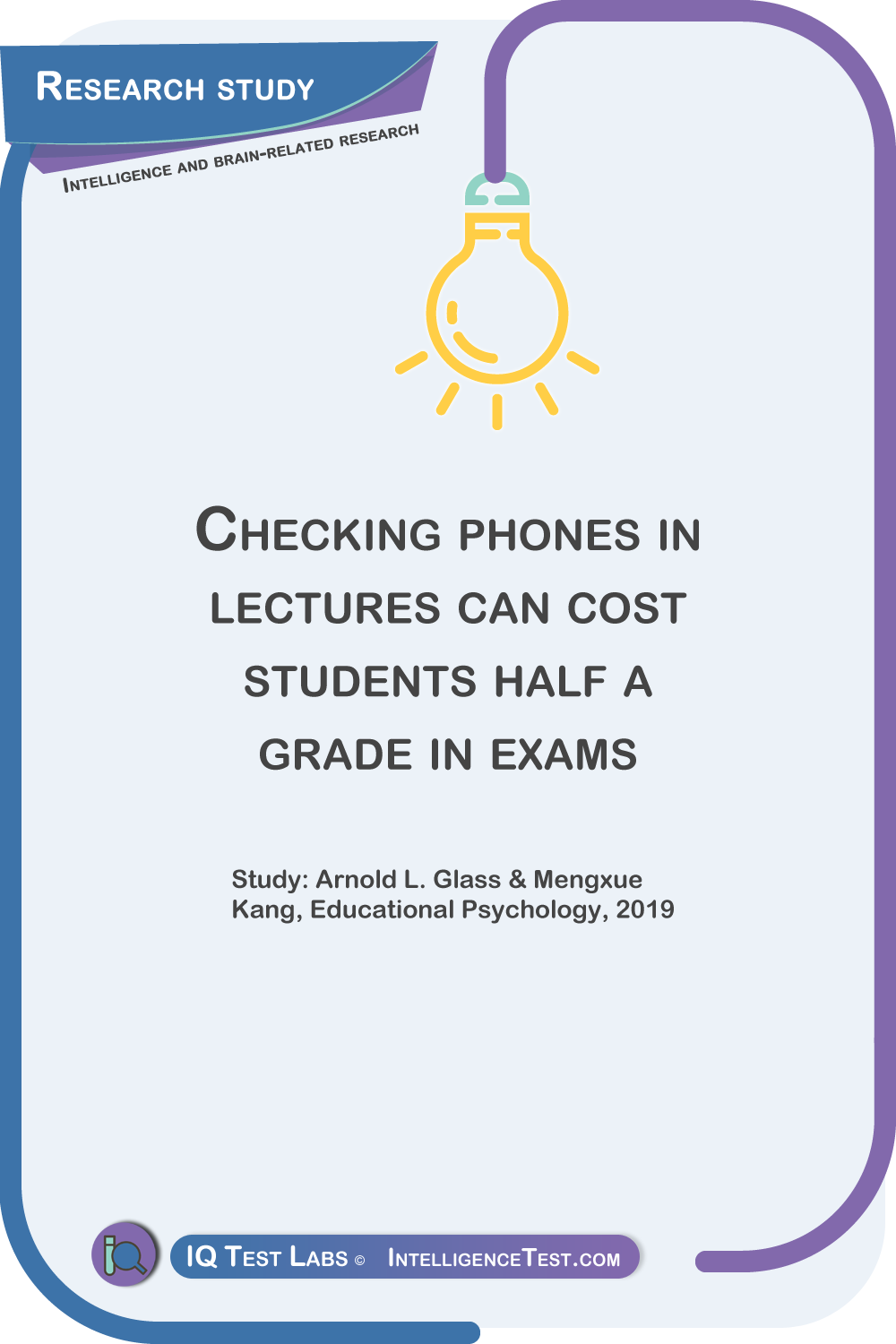 Checking phones in lectures can cost students half a grade in exams Study: Arnold L. Glass & Mengxue Kang, Educational Psychology, 2019.