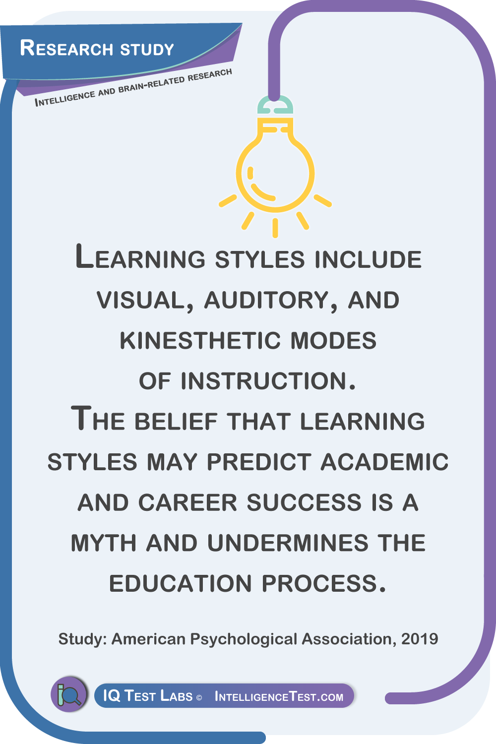 Learning styles include visual, auditory, and kinesthetic modes of instruction. The belief that learning styles may predict academic and career success is a myth and undermines the education process.