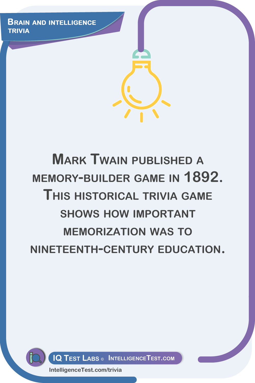 Mark Twain published a memory-builder game in 1892. This historical trivia game shows how important memorization was to nineteenth-century education.