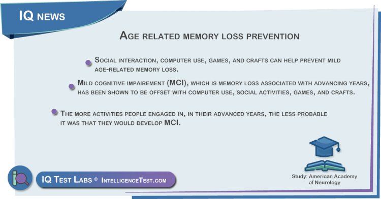 Age related memory loss prevention